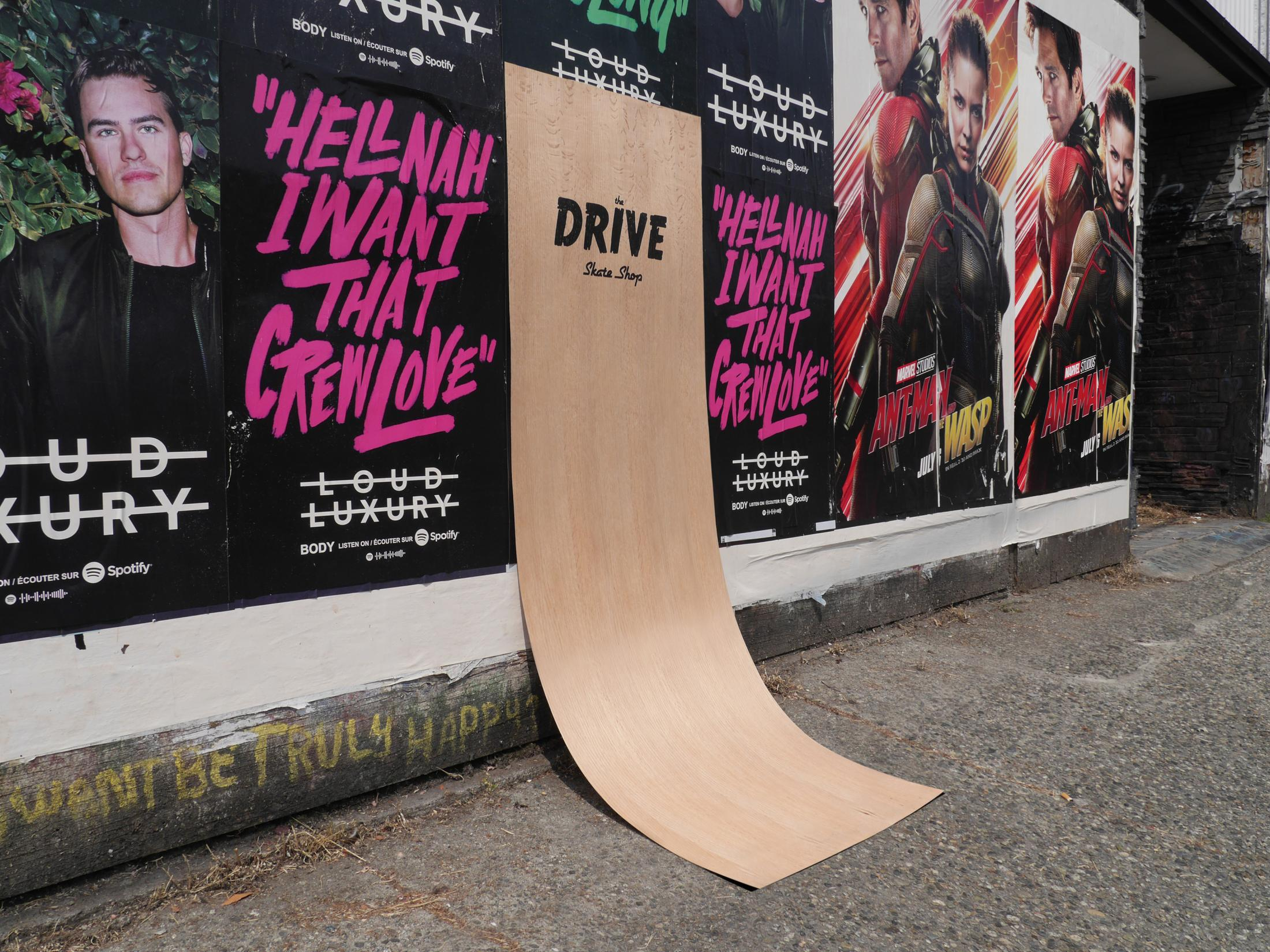 Drive Skate Shop: fully-skateable sandwich board